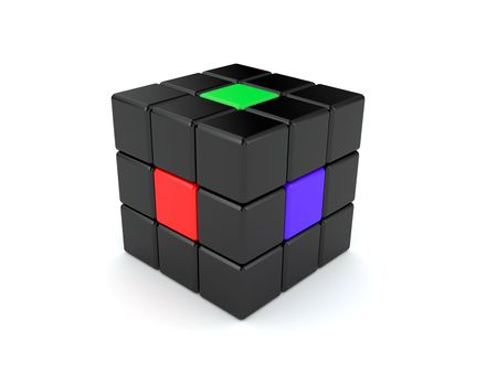 Abstract colour cube with the colour elements, consisting of small cubes photo