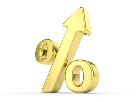 gold metal percentage symbol with an arrow upwards Stock Photo - 5655294