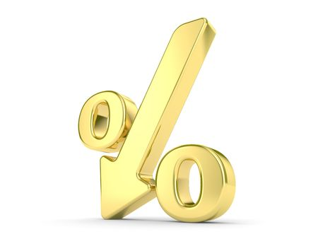 gold metal percentage symbol with an arrow down photo