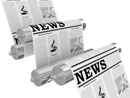 releasing: The newspaper on the conveyor in the course of the press Stock Photo