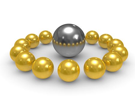command: 3D gold and silver spheres, conceptual command work Stock Photo