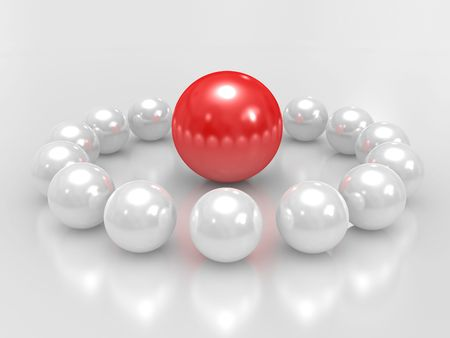 command: 3D spheres, conceptual command Teamwork Stock Photo
