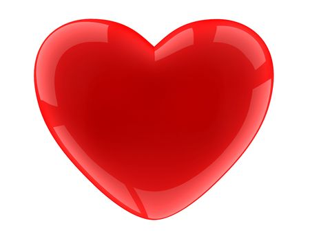 fondness: Isolated heart on white background. 3D image. Stock Photo