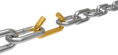 Steel chain with the broken off link, the concept of work of a command, drawing it is isolated on a white background photo