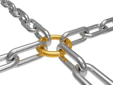 cadenas: Trabajo conceptual de un comando, dibujo est� aislado un fondo blanco