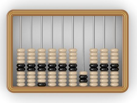 computations: Closeup of a vintage abacus on a white background