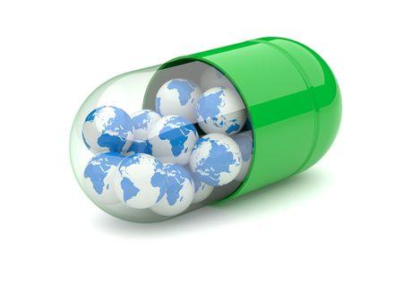 Planète la terre dans une pilule sur un fond blanc Banque d'images - 5997597