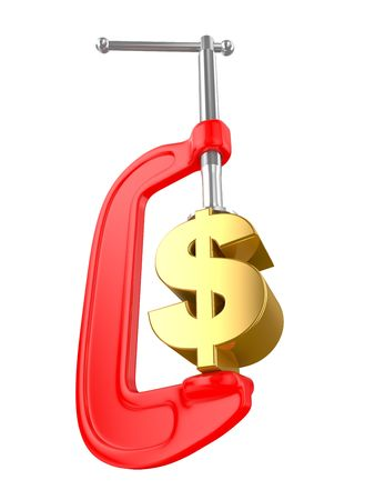 tax bracket: Clamp with money for a white background, business the concept