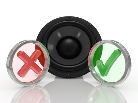 3d black speaker on a white background with symbol ok and no photo