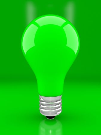 socle: Green bulb, the concept ecologically a net energy