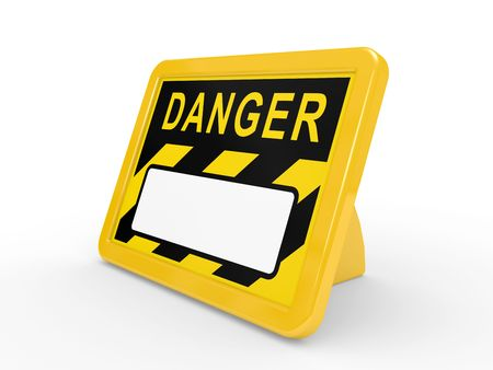 The tablet DANGER on a white background with a place for the text Stock Photo - 6209945