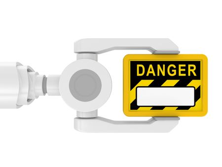3d robotic arm, with the tablet DANGER on a white background photo
