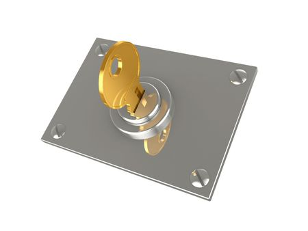 is established: Key in the lock established on a support with fastenings Stock Photo