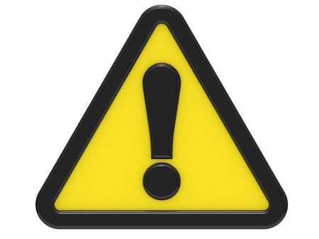 precautions: 3D exclamation sign on a white background Stock Photo