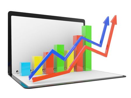 dynamic growth: Folder with the schedule, the complex analysis of data