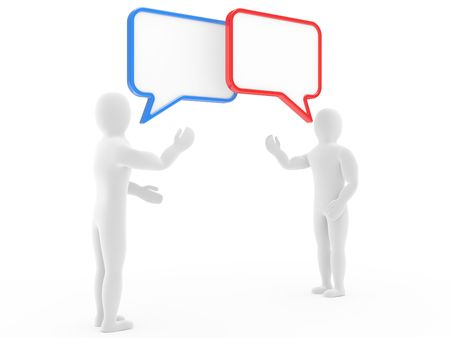 monologue: Two persons talk, carry on negotiations Stock Photo