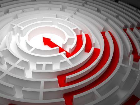 periferia: Labirinto tondo su uno sfondo bianco con una delle uscite e una freccia  Archivio Fotografico