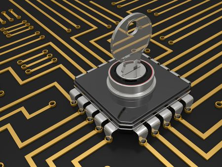 The computer chip, the concept of protection of personal data Stock Photo - 6412030