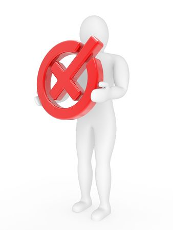 negatively: The person with a sign negatively in hands on a white background