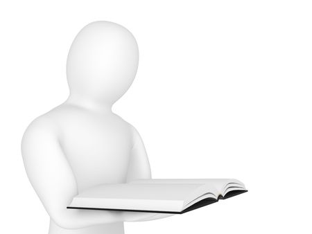 investigates: The person holds the book in hands Stock Photo