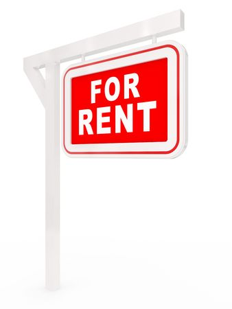 rent index: Signboard with an inscription RENT on a column Stock Photo