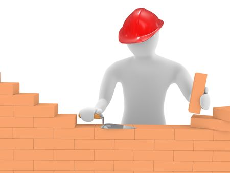 successively: The builder in process work performance, an illustration with the isolated background