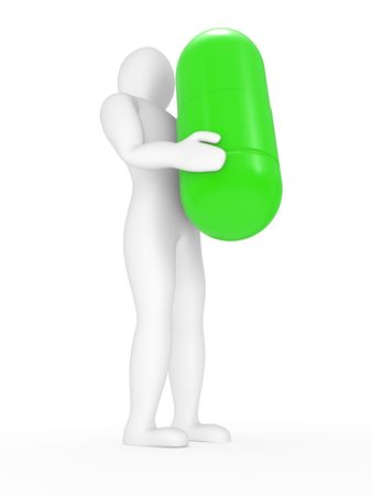 simplification: The person with a capsule in hands on a white background