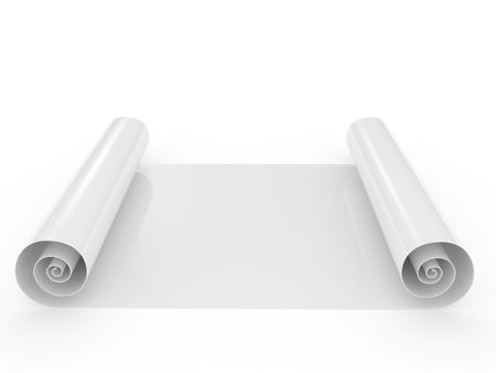 developed: The developed roll of a paper on a white background