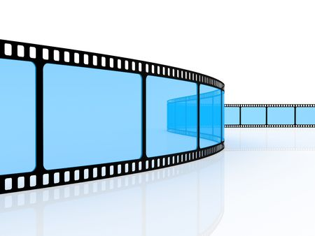 hollywood film: Standard film 35�� on a white background Stock Photo