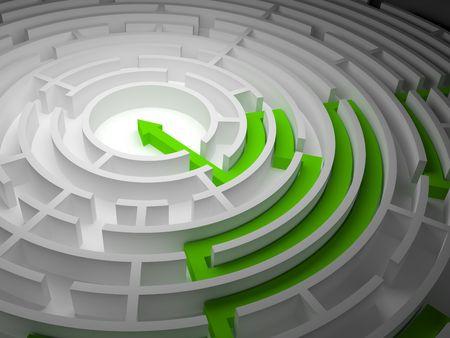 Ronde labyrint op een witte achtergrond met een uitgang en een pijl