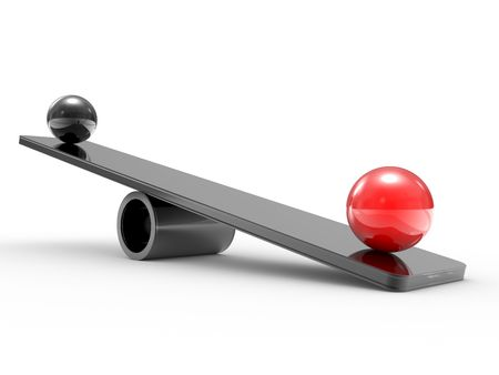 sphere of influence: Spheres on scales, the equality concept in a society Stock Photo