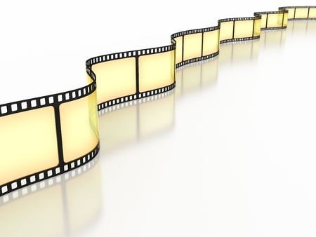 35mm: Standard film 35mm on a white background Stock Photo