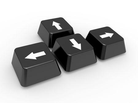 The four keyboard arrow keys on a white background photo