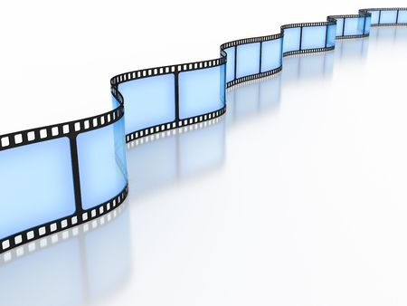 filmmaking: Standard film 35mm on a white background Stock Photo