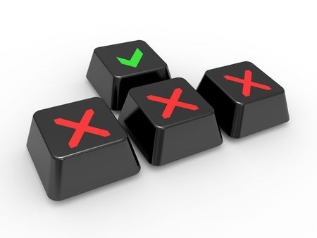 Buttons of the keyboard with symbols on a white background photo