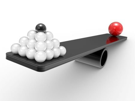 rivalry: Spheres on scales. The rivalry concept Stock Photo