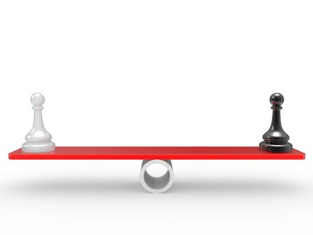 rivalry: Chessmen on scales. The rivalry concept Stock Photo