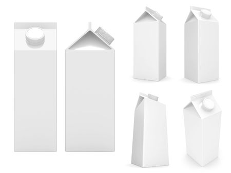 milk boxes isolated over a white background