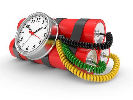 bomba a orologeria: bomba a tempo con la dinamite e timer su sfondo bianco  Archivio Fotografico