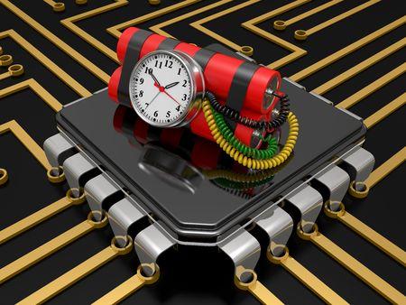 dinamita: bomba de tiempo con dinamita y temporizador en el chip de computadora