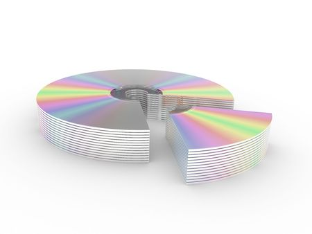 cd rw: CD and DVD disks isolated on a white background