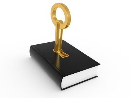 success security: Key to knowledge, book isolated on a white background