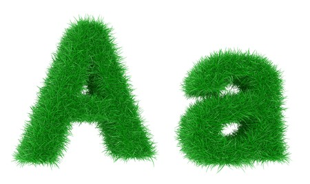 High resolution grass font isolated on white background Stock Photo - 7050240
