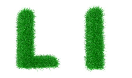 potherb: High resolution grass font isolated on white background