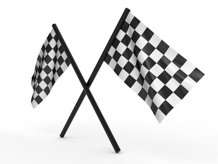 Finishing checkered flag. 3d on a white background Stock Photo - 7309875