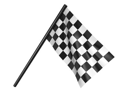 Finishing checkered flag. 3d on a white background Stock Photo - 7411464