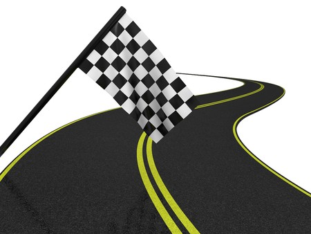 Finishing checkered flagand road. 3d on a white background Stock Photo - 7411472