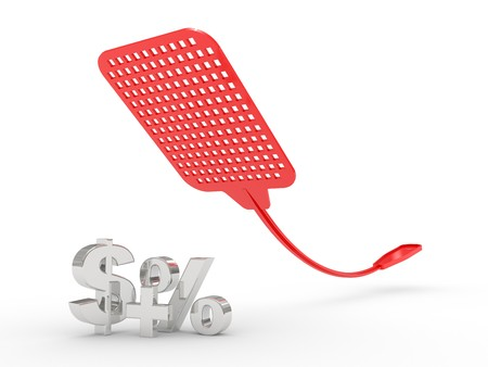 fly swatter and percent symbol isolated on white background Stock Photo