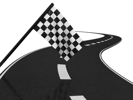 Finishing checkered flagand road. 3d on a white background photo
