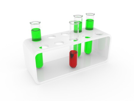 Test tubes on a support isolated on a white background Stock Photo - 7536605